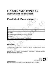 Mock-Q - FIA FAB ACCA PAPER F1 Accountant in Business ac ca g ao A