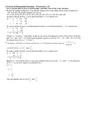 Zeroes of Polynomial Functions with Answer