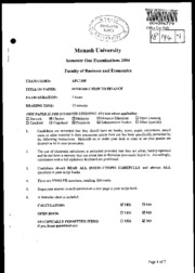 MU - S1 2004 - Introduction to Finance