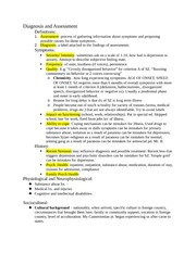 Diagnosis and Assessment notes