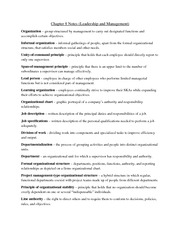 Chapter 8 Notes (Leadership and Management)