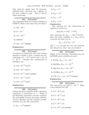 University of Texas CH 302 McCord H10 - Solubility