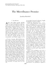 The Microfinance Promise
