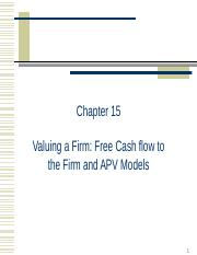 Chapter+15+-+Valuing+a+Firm+Free+Cashflow+to+Firm+and+APV+Models