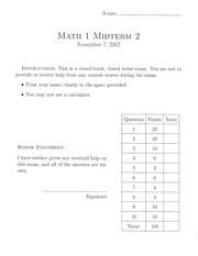 MATH 1 Spring 2008 Practice Exam Solutions