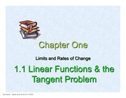 1.1 Linear Functions and Tangent Problem