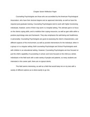 Chapter Seven (Counseling Psychologist) Reflection Paper