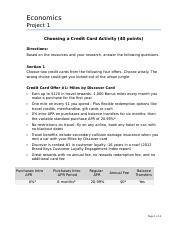 Project 1 - Choosing a Credit Card Activity and Budget Update