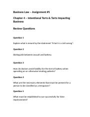 Chapter 4 - Intentional Torts and Torts Impacting Business.docx