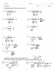 HW1 Section 2 1 Limits at a Point PDF - AP Calculus AB Name