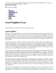 Good Neighbor Essay Example for Free.html