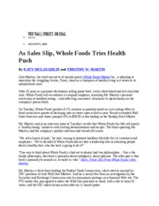 Whole Foods Shifts Strategy to Healthy