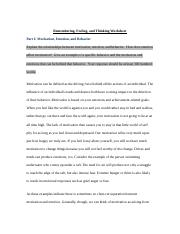 PSY 103 Week 3 Assignment Remembering Feeling and Thinking Worksheet.docx