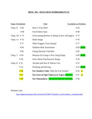 Printables Wellness Worksheets wellness worksheets 1 27 i a chap 14 103 facts about pages 2