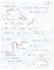 Physics 11 Water Tank Example Class Notes