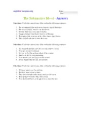 Subjunctive Mood - answers