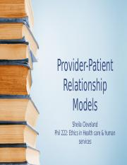 Summary #3-Provider-Patient Relationship Models