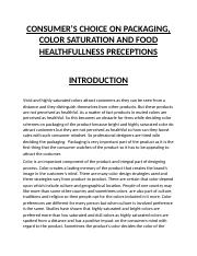 CONSUMER'S CHOICE ON PACKAGING, COLOR SATURATION AND FOOD HEALTHFULLNESS PRECEPTIONS by Asim Nasir.d