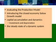 Evaluating the Production Model, Capital Accumulation, and Solow