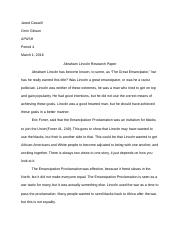Abraham Lincoln Deserve Credit As The Great Emancipator   Pages Abraham Lincoln Research Paper