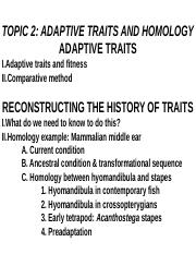 BIOL 339 Lecture Topic 2 - Adaptive traits and homology