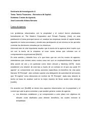 Teoria Financiera -  Estructura de Capital - Costos de Agencia