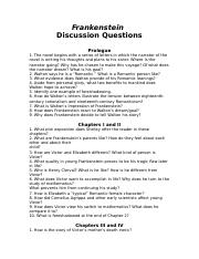 ansswers to questions frankenstein advanced placement in english rh coursehero com Frankenstein Study Questions and Answers Frankenstein Study Guide for Questions