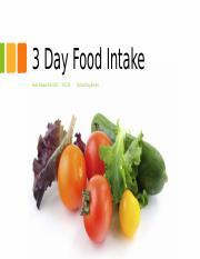 food intake 3 days