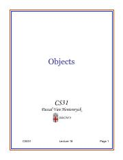 Lecture 18 - Objects