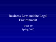 Spring 2010 Business Law and the Legal Environment - Week 10