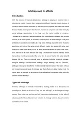 Arbitrage and its effects_Draft 1