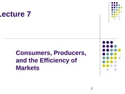 Lecture 7 Consumers, Producers, and the Efficiency of Markets