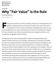 "Why ""Fair Value"" Is the Rule"