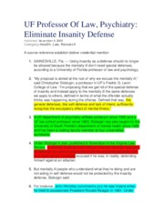 UF Professor Of Law, Psychiatry -Eliminate Insanity Defense