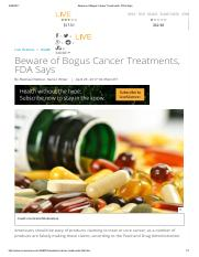Beware of Bogus Cancer Treatments, FDA Says