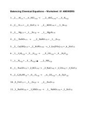 34 Chemistry Unit 7 Worksheet 3 Write Balanced Chemical ...