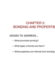 Chapter 2- Bonding and properties