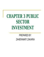 CHAPTER 3 PUBLIC SECTOR INVESTMENT