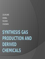 Synthesis Gas production and derived chemicals