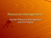 Resources Management I HRM and Civil Rights Spring 2015
