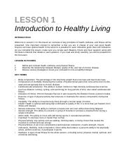 lesson 1 - Intro to Healthy Living