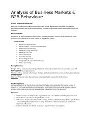 Week5 - Analysis of business markets and B2B Behaviour.docx