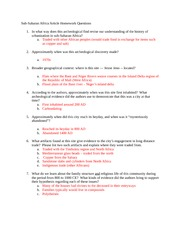 Sub-Saharan Africa Article Homework Questions