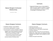 Lecture 6 Notes-Owner-Designer-Contractor Relationships