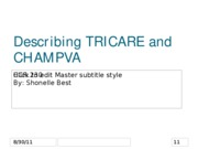 Describing TRICARE and CHAMPVA