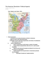 Class Notes 12- American Revolution Political (10-2)