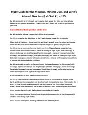 Study Guide - Lab Test 1 - Mineral + Mineral Uses + Earths Interior Test - Spring 2018 (2).doc