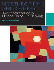 University of Ottawa Press.Northrop Frye and Others_ Twelve Writers Who Helped Shape His Thinking.Ro