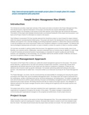 Sample Project Management Plan (PMP)