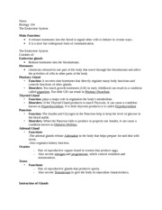 Notes BIO 104 Endocrine Syste,